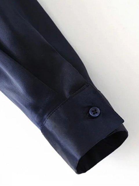 affordable Satin Boyfriend Shirt - GREEN M Mobile