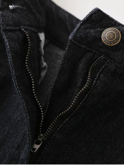 best Ribbed Jean Skirt - BLACK L Mobile