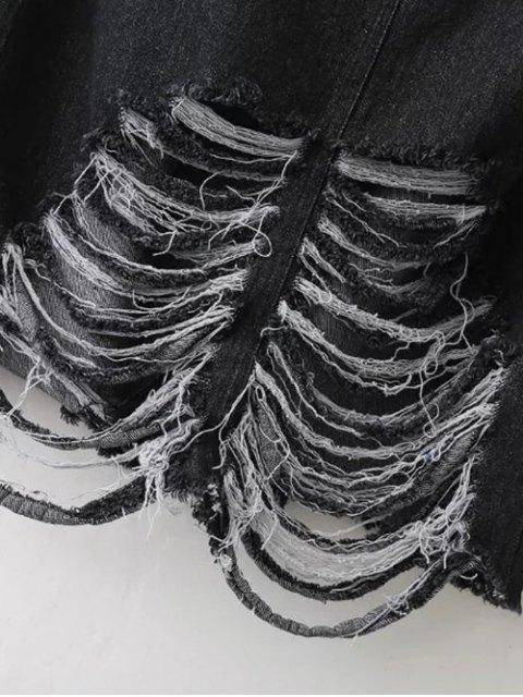 new Ribbed Jean Skirt - BLACK S Mobile