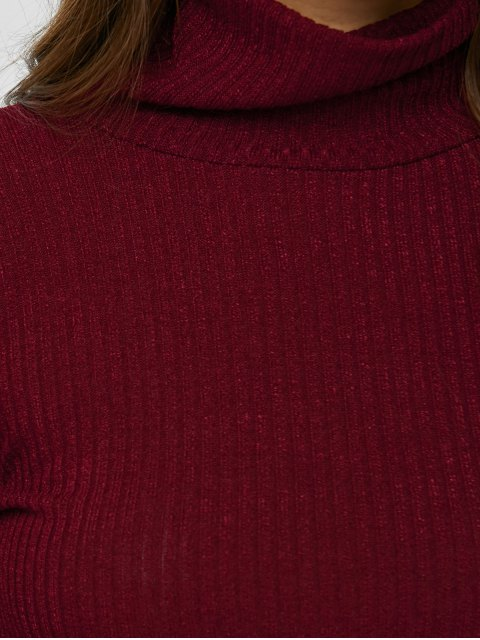 new Fitted Turtleneck Jumper - BURGUNDY XL Mobile