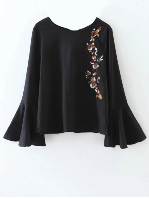 latest Cut Out Flare Sleeve Floral Tied Blouse - BLACK L Mobile