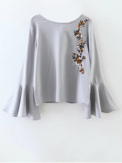 unique Cut Out Flare Sleeve Floral Tied Blouse - GRAY S Mobile