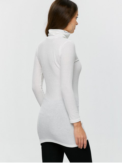 shops Fitted Turtleneck Jumper - WHITE L Mobile
