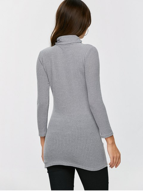 chic Fitted Turtleneck Jumper - GRAY L Mobile