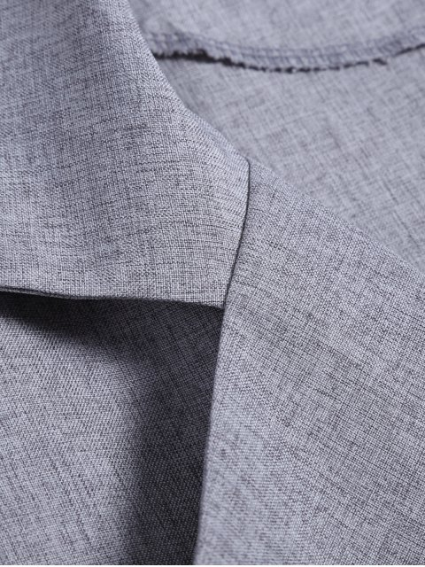 shop One Button Plus Size Blazer - GRAY 5XL Mobile