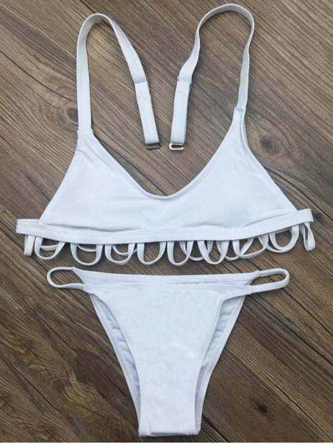 fancy Padded Spaghetti Straps Bikini Set - WHITE L Mobile