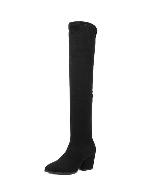 womens Chunky Heel Pointed Toe Zip Thigh Boots - BLACK 39 Mobile