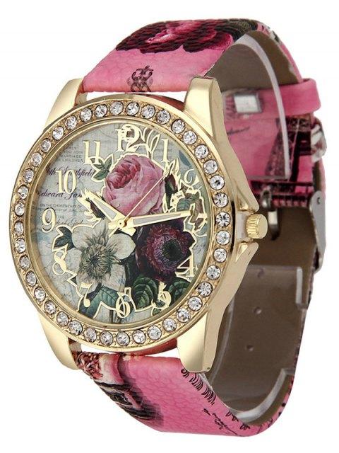 outfits Rhinestone Faux Leather Rose Quartz Watch - TUTTI FRUTTI  Mobile