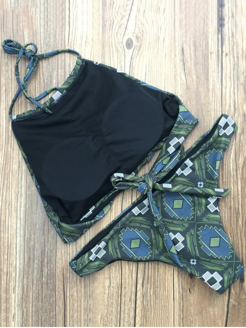 online Patterned High Neck Tied Bikini - GREEN XL Mobile