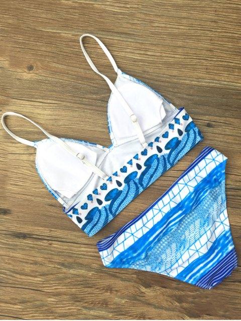 fancy Spaghetti Strap Printed Bikini Set - BLUE M Mobile