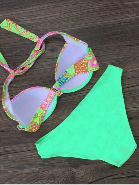 trendy Patterned Halter Bikini Set - LAKE GREEN XL Mobile