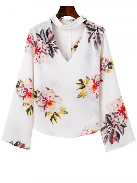 online Bell Sleeve Floral Choker Top - WHITE M Mobile