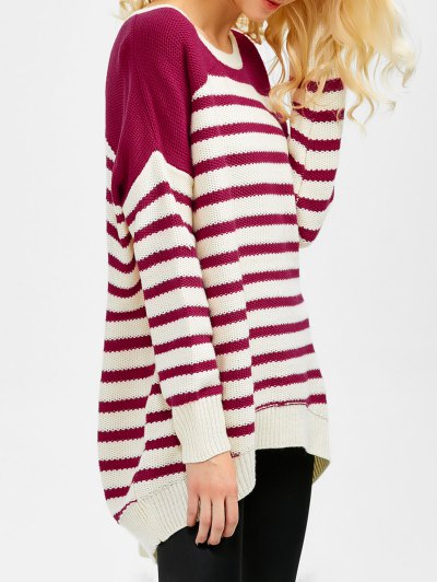 Striped Oversized High Low Sweater - WINE RED XL Mobile