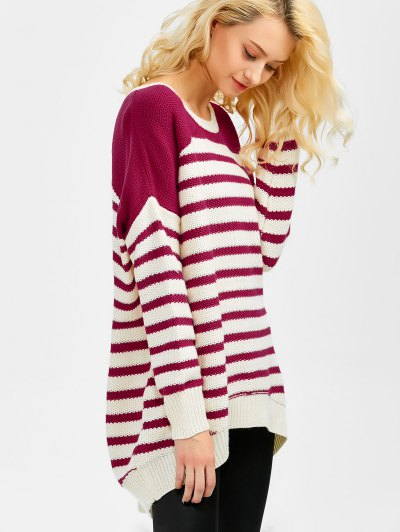 Striped Oversized High Low Sweater - WINE RED L Mobile
