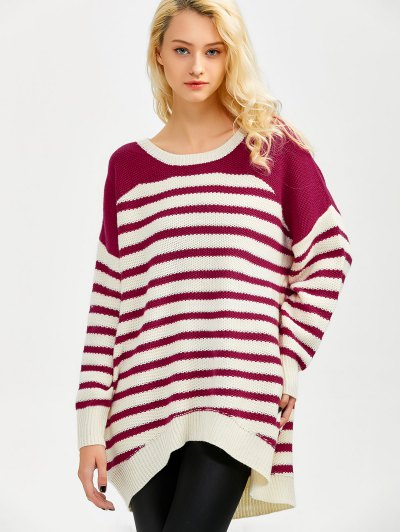 Striped Oversized High Low Sweater - WINE RED M Mobile