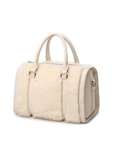 PU Leather Metal Faux Fur Tote Bag - MILK WHITE  Mobile