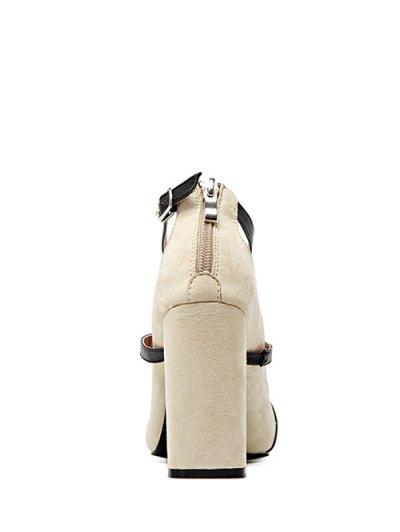 Strappy Zipper Chunky Heel Pumps - LIGHT KHAKI 37 Mobile