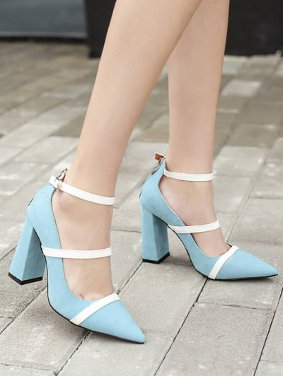 Strappy Zipper Chunky Heel Pumps - LIGHT BLUE 39 Mobile