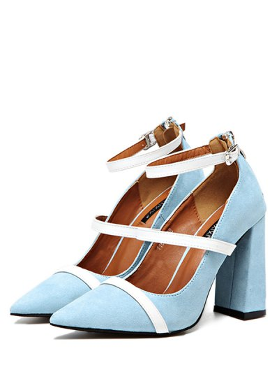 Strappy Zipper Chunky Heel Pumps - LIGHT BLUE 38 Mobile