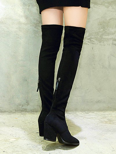 Chunky Heel Pointed Toe Zip Thigh Boots - BLACK 37 Mobile