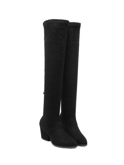 Chunky Heel Pointed Toe Zip Thigh Boots - BLACK 38 Mobile