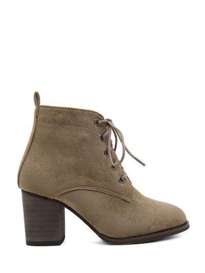 Block Heel Tie Up Suede Ankle Boots - DARK KHAKI 39 Mobile