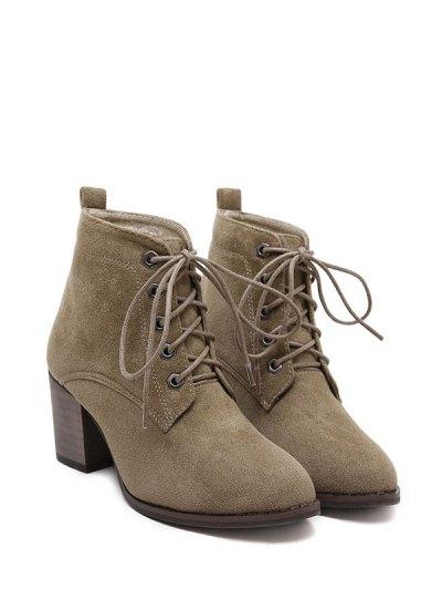 Block Heel Tie Up Suede Ankle Boots - DARK KHAKI 38 Mobile