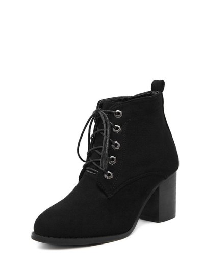 Block Heel Tie Up Suede Ankle Boots - BLACK 39 Mobile