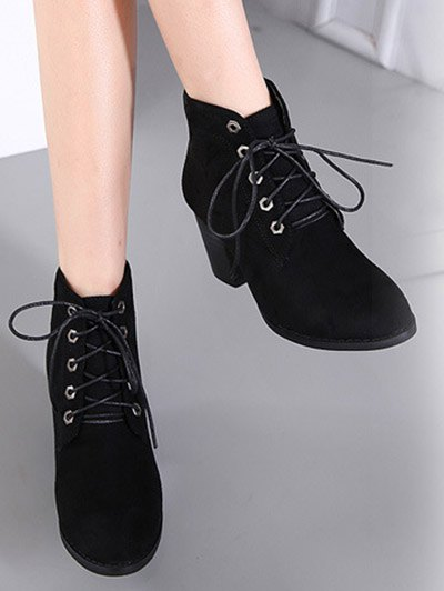 Block Heel Tie Up Suede Ankle Boots - BLACK 37 Mobile