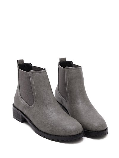 Elastic Round Toe Ankle Boots - GRAY 39 Mobile