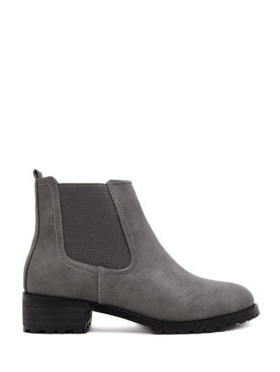 Elastic Round Toe Ankle Boots - GRAY 37 Mobile
