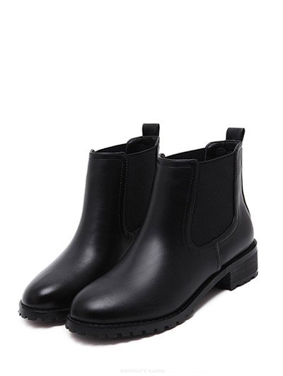 Elastic Round Toe Ankle Boots - BLACK 37 Mobile