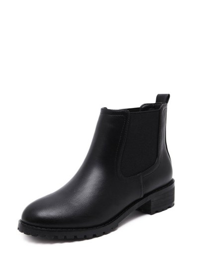 Elastic Round Toe Ankle Boots - BLACK 38 Mobile
