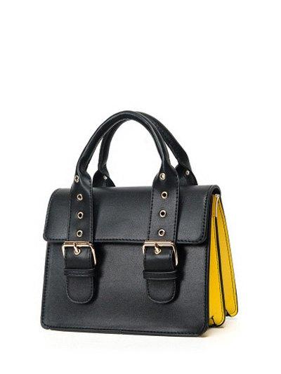 Color Block Eyelets Double Buckles Crossbody Bag - BLACK  Mobile