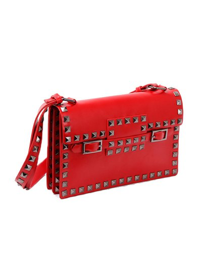 Buckle Strap Metal Rivet Crossbody Bag - RED  Mobile