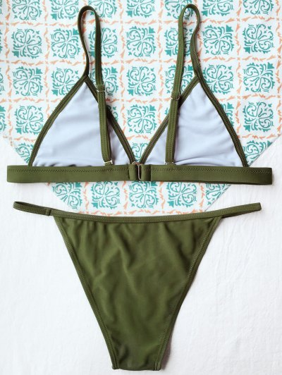 Tiny Unlined String Bikini Set - ARMY GREEN L Mobile