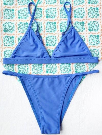Tiny Unlined String Bikini Set - BLUE S Mobile