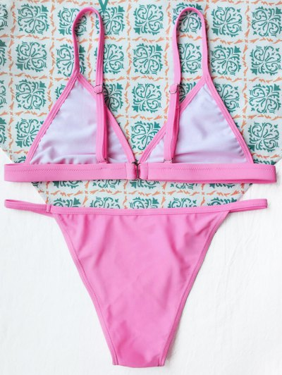 Tiny Unlined String Bikini Set - FLUORESCENT PINK S Mobile