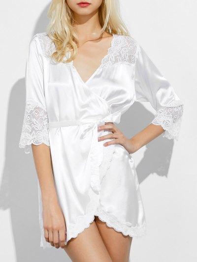 Wrap Lace Panel Sleep Robe - WHITE XL Mobile