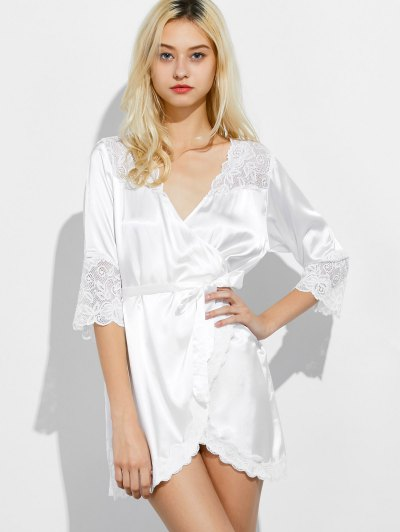 Wrap Lace Panel Sleep Robe - WHITE M Mobile