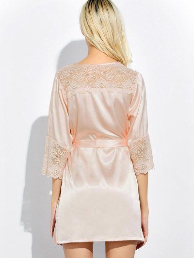 Wrap Lace Panel Sleep Robe - SHALLOW PINK L Mobile