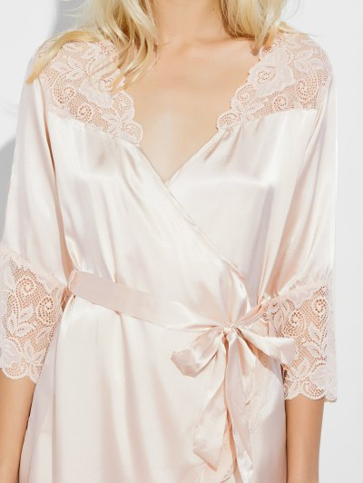 Wrap Lace Panel Sleep Robe - CHAMPAGNE M Mobile