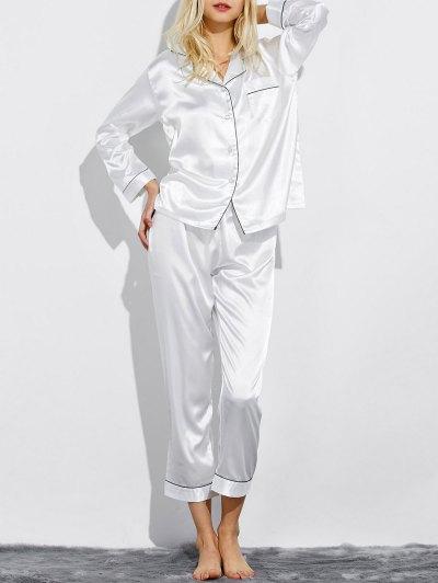Fitting Silk Nightwear Pajamas - WHITE XL Mobile