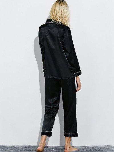 Fitting Silk Nightwear Pajamas - BLACK XL Mobile