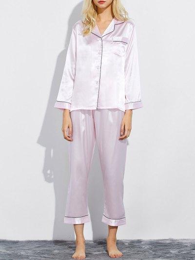 Fitting Silk Nightwear Pajamas - SHALLOW PINK L Mobile