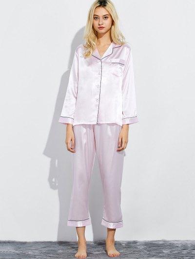 Fitting Silk Nightwear Pajamas - SHALLOW PINK M Mobile