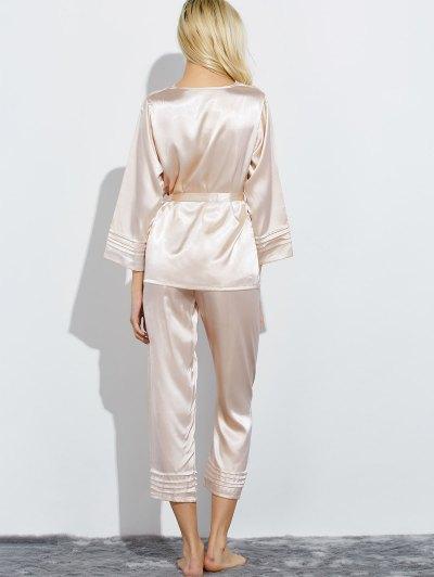 Lace Panel Bowknot Nightwear Pajamas - CHAMPAGNE XL Mobile