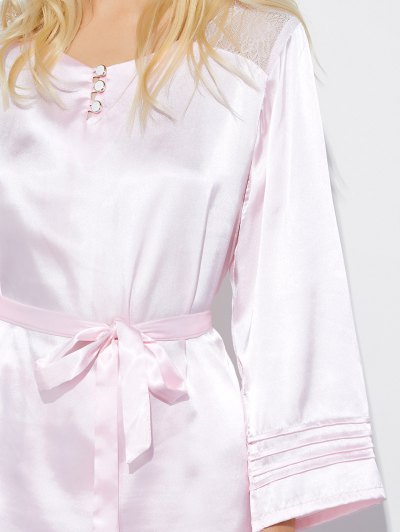Lace Panel Bowknot Nightwear Pajamas - SHALLOW PINK XL Mobile