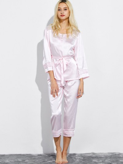 Lace Panel Bowknot Nightwear Pajamas - SHALLOW PINK L Mobile