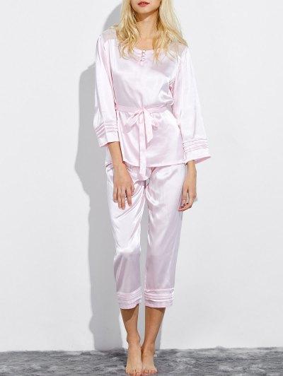 Lace Panel Bowknot Nightwear Pajamas - SHALLOW PINK M Mobile